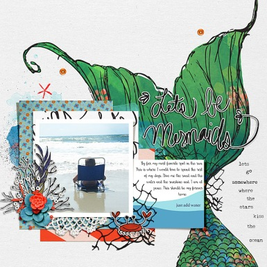 Let's Be Mermaids by Valorie Wibbens Let's Be Mermaids Journal Cards by Valorie Wibbens Sprinkles V43 by Valorie Wibbens Template and Story Starter from Simple Scrapper Premium Membership