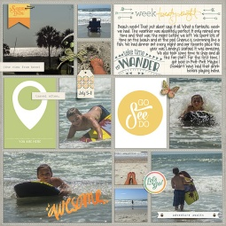 Wanderer - July 2015 Collection by Pixels and Company Pocket Pages: Fair and Square v1 by Gennifer Bursett Weekly Edition by One Little Bird (left side)