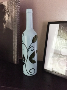 My latest wine bottle project to add a little accent to the black shelf.