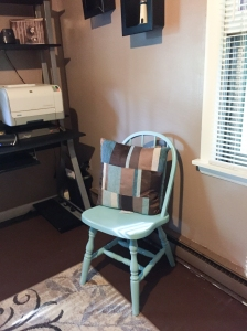 Old kitchen chair that had been sitting in my laundry room for years, freshly painted.